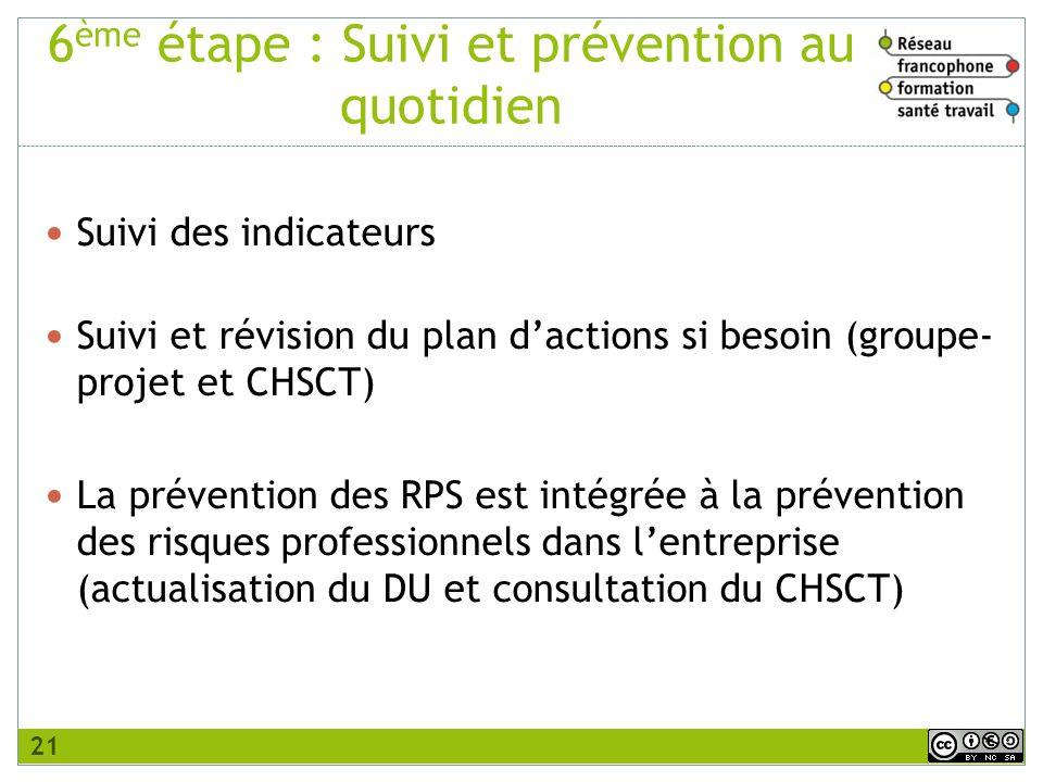 6 ème étape : Suivi et prévention au quotidien Suivi des indicateurs Suivi et révision du plan dactions si besoin (groupe- projet et CHSCT) La prévent