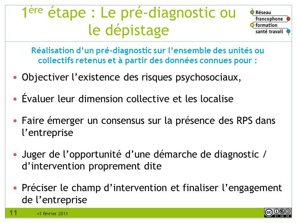 v1 février 2011 1 ère étape : Le pré-diagnostic ou le dépistage Objectiver lexistence des risques psychosociaux, Évaluer leur dimension collective et