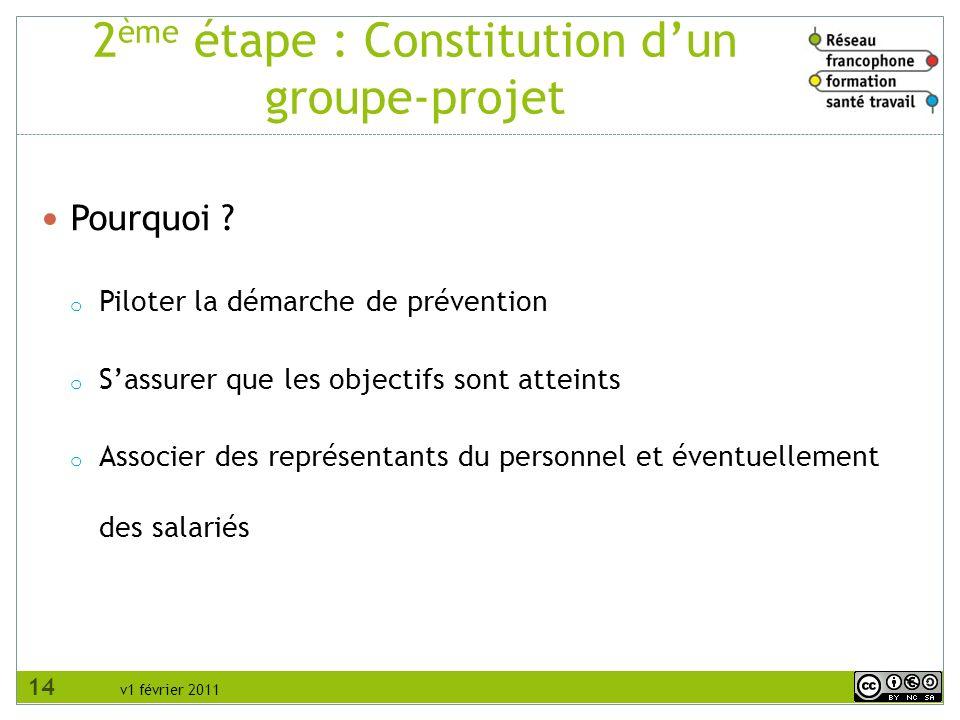 v1 février 2011 2 ème étape : Constitution dun groupe-projet Pourquoi ? o Piloter la démarche de prévention o Sassurer que les objectifs sont atteints
