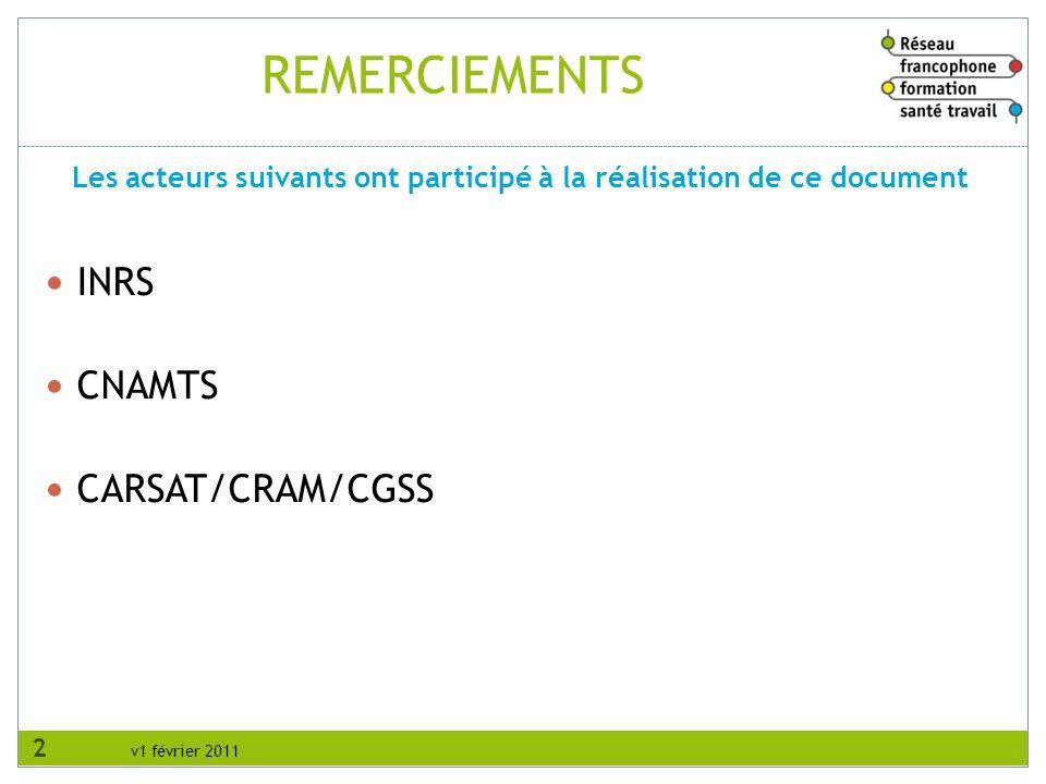 v1 février 2011 REMERCIEMENTS INRS CNAMTS CARSAT/CRAM/CGSS Les acteurs suivants ont participé à la réalisation de ce document 2