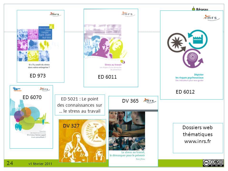 v1 février 2011 ED 6011 ED 973 ED 6012 DV 327 Dossiers web thématiques www.inrs.fr DV 365 ED 6070 ED 5021 : Le point des connaissances sur … le stress au travail 24