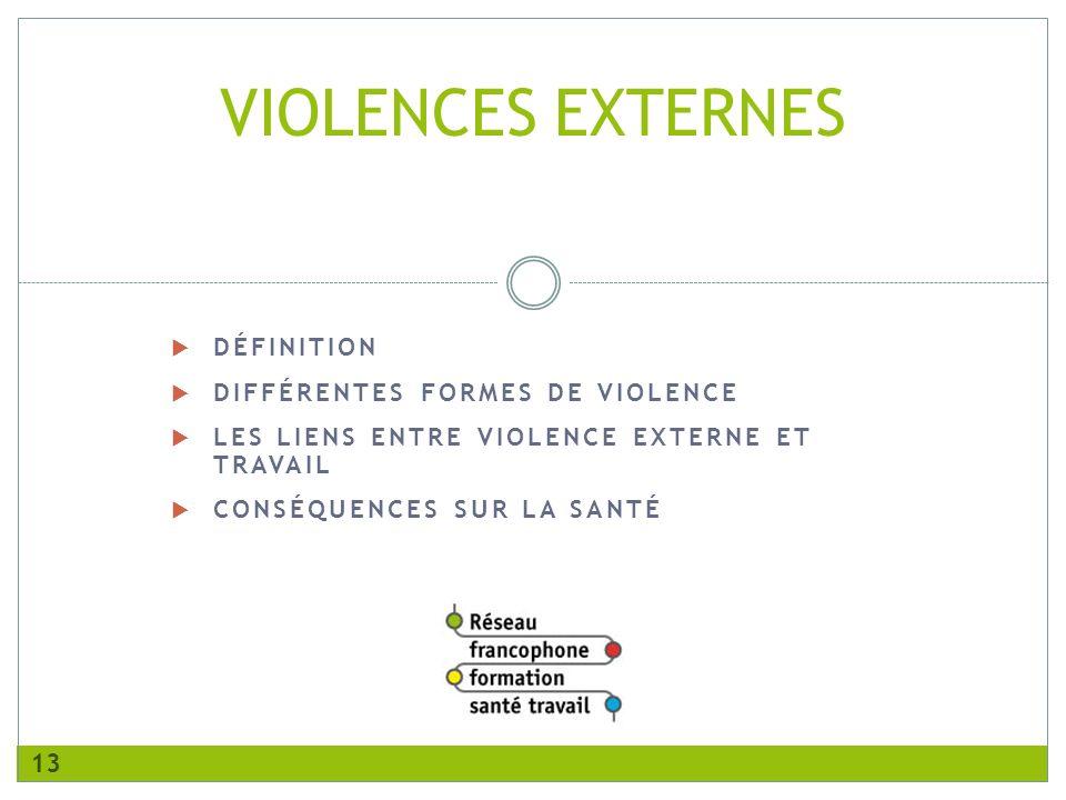 DÉFINITION DIFFÉRENTES FORMES DE VIOLENCE LES LIENS ENTRE VIOLENCE EXTERNE ET TRAVAIL CONSÉQUENCES SUR LA SANTÉ VIOLENCES EXTERNES 13