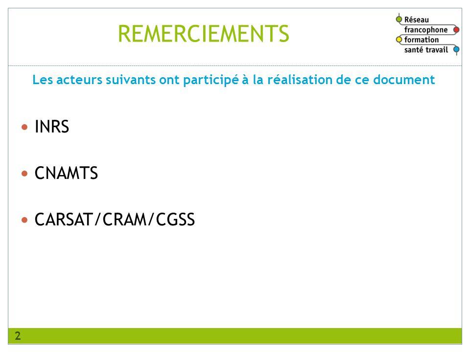 REMERCIEMENTS INRS CNAMTS CARSAT/CRAM/CGSS Les acteurs suivants ont participé à la réalisation de ce document 2