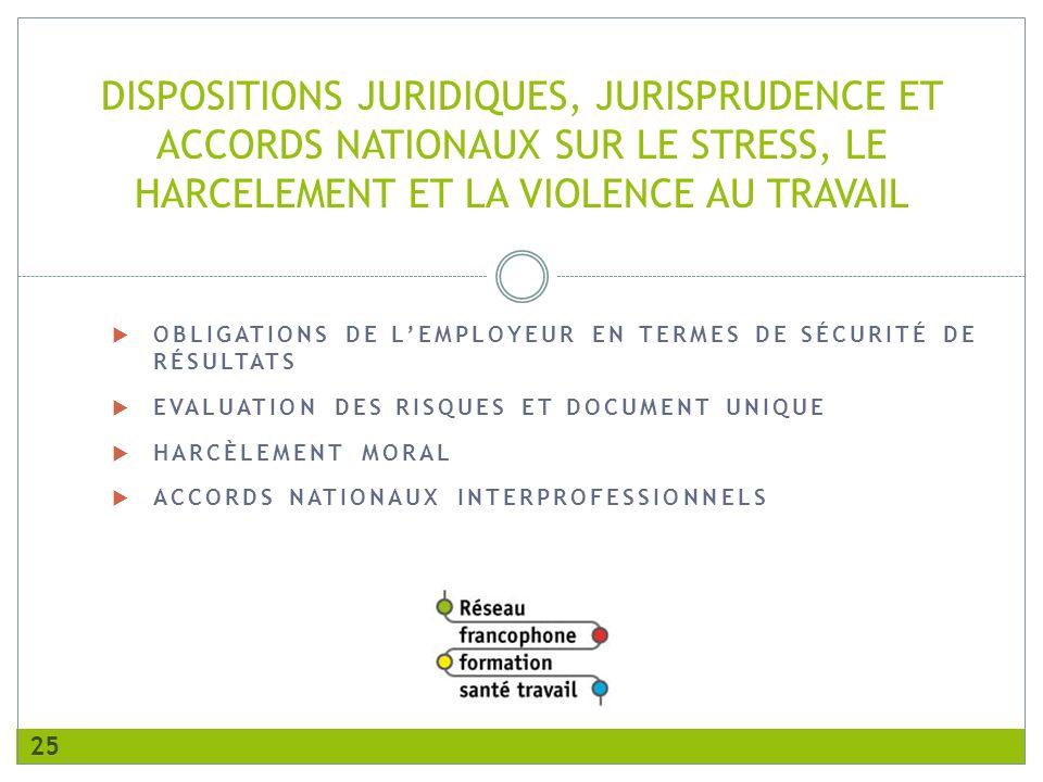 OBLIGATIONS DE LEMPLOYEUR EN TERMES DE SÉCURITÉ DE RÉSULTATS EVALUATION DES RISQUES ET DOCUMENT UNIQUE HARCÈLEMENT MORAL ACCORDS NATIONAUX INTERPROFESSIONNELS DISPOSITIONS JURIDIQUES, JURISPRUDENCE ET ACCORDS NATIONAUX SUR LE STRESS, LE HARCELEMENT ET LA VIOLENCE AU TRAVAIL 25