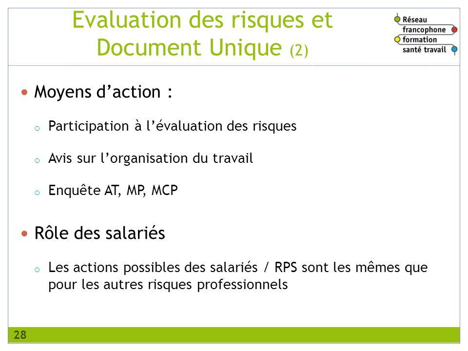 Evaluation des risques et Document Unique (2) Moyens daction : o Participation à lévaluation des risques o Avis sur lorganisation du travail o Enquête