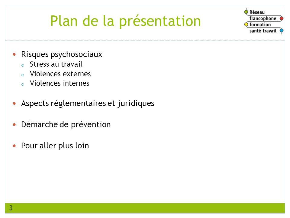Plan de la présentation Risques psychosociaux o Stress au travail o Violences externes o Violences internes Aspects réglementaires et juridiques Démar