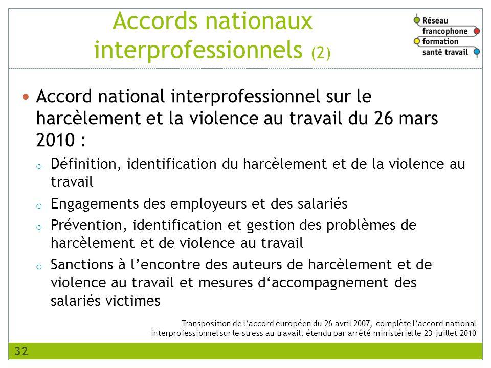 Transposition de laccord européen du 26 avril 2007, complète laccord national interprofessionnel sur le stress au travail, étendu par arrêté ministéri
