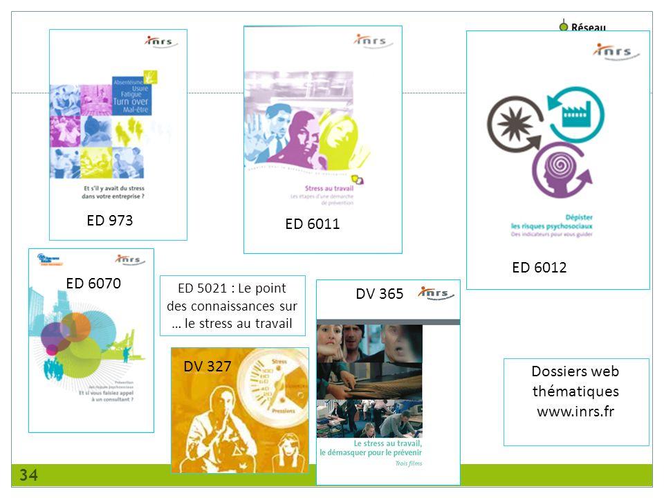 ED 6011 ED 973 ED 6012 DV 327 Dossiers web thématiques www.inrs.fr DV 365 ED 6070 ED 5021 : Le point des connaissances sur … le stress au travail 34