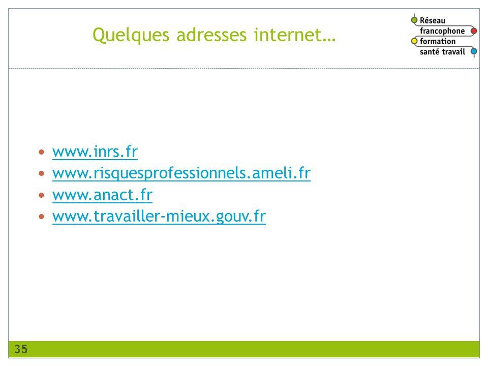 Quelques adresses internet… www.inrs.fr www.risquesprofessionnels.ameli.fr www.anact.fr www.travailler-mieux.gouv.fr 35