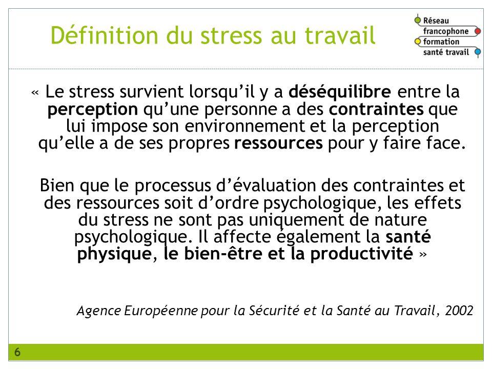 Définition du stress au travail « Le stress survient lorsquil y a déséquilibre entre la perception quune personne a des contraintes que lui impose son environnement et la perception quelle a de ses propres ressources pour y faire face.