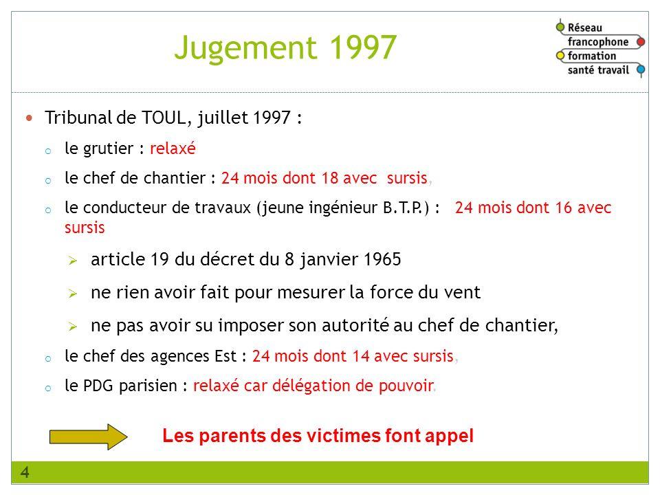 Tribunal de TOUL, juillet 1997 : o le grutier : relaxé o le chef de chantier : 24 mois dont 18 avec sursis, o le conducteur de travaux (jeune ingénieu