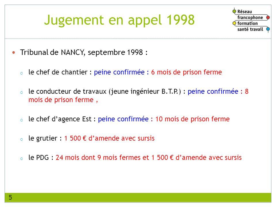 Tribunal de NANCY, septembre 1998 : o le chef de chantier : peine confirmée : 6 mois de prison ferme o le conducteur de travaux (jeune ingénieur B.T.P