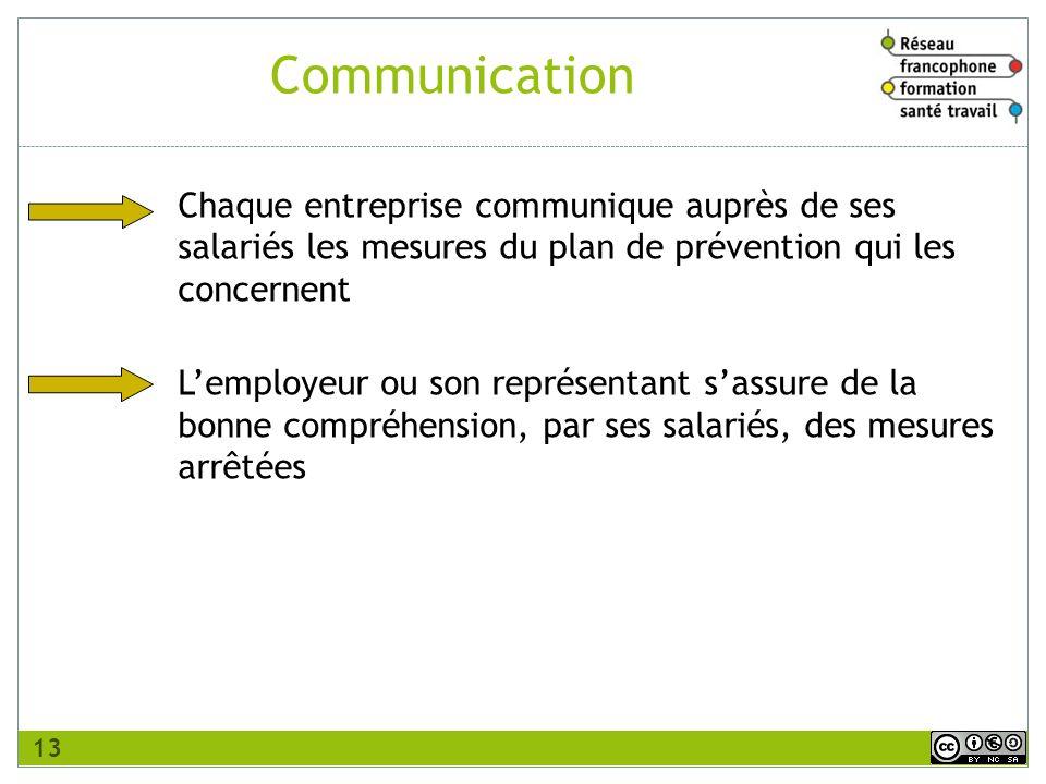 Chaque entreprise communique auprès de ses salariés les mesures du plan de prévention qui les concernent Lemployeur ou son représentant sassure de la