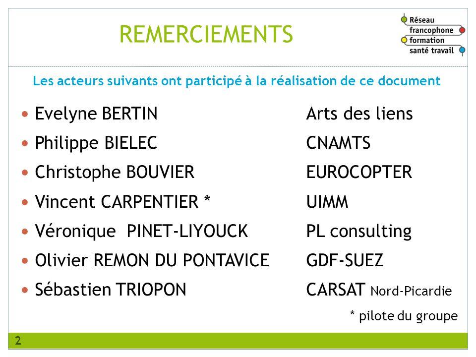 REMERCIEMENTS Evelyne BERTINArts des liens Philippe BIELECCNAMTS Christophe BOUVIEREUROCOPTER Vincent CARPENTIER *UIMM Véronique PINET-LIYOUCKPL consu