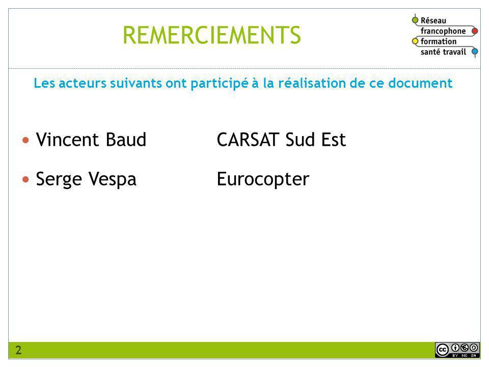REMERCIEMENTS Vincent BaudCARSAT Sud Est Serge VespaEurocopter Les acteurs suivants ont participé à la réalisation de ce document 2