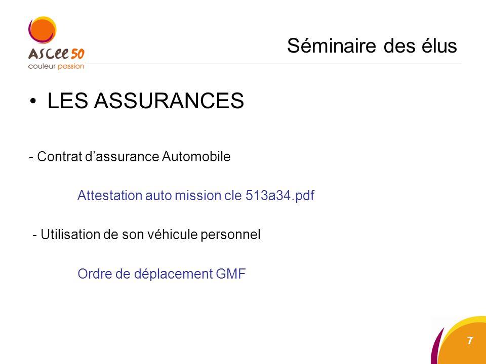 Séminaire des élus LES ASSURANCES - Contrat dassurance Automobile Attestation auto mission cle 513a34.pdf - Utilisation de son véhicule personnel Ordr