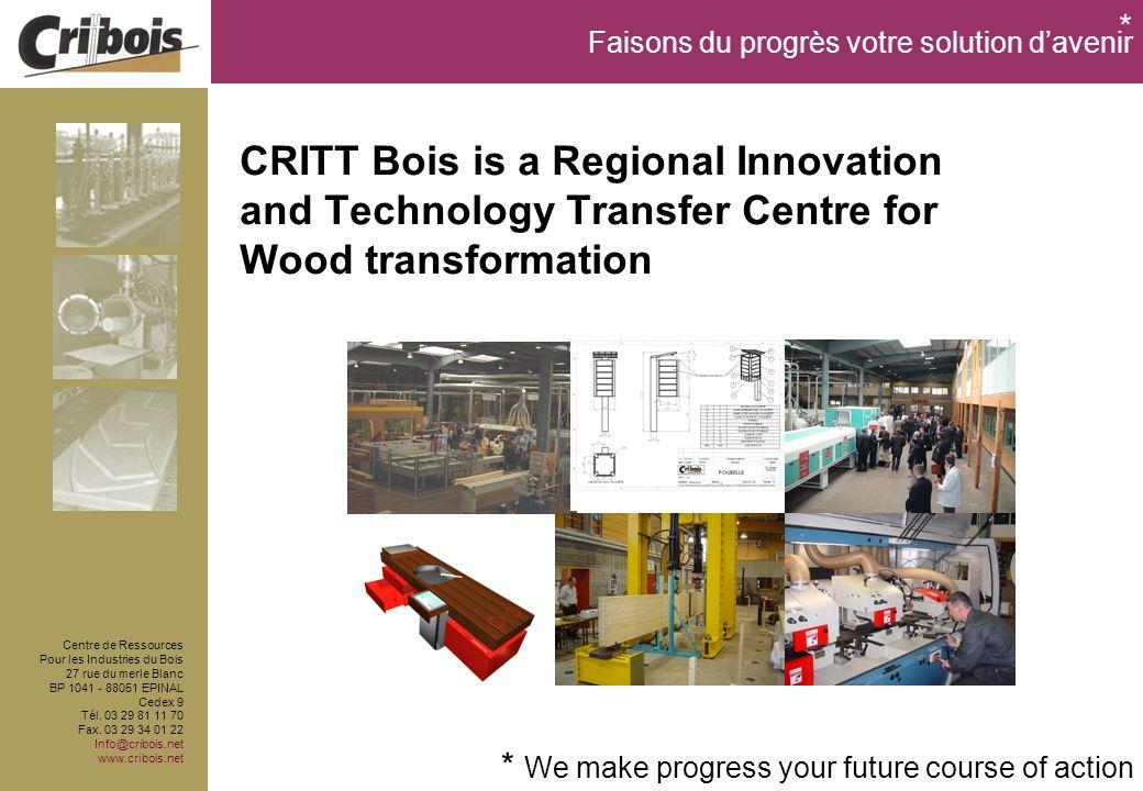 Faisons du progrès votre solution davenir Centre de Ressources Pour les Industries du Bois 27 rue du merle Blanc BP 1041 - 88051 EPINAL Cedex 9 Tél.