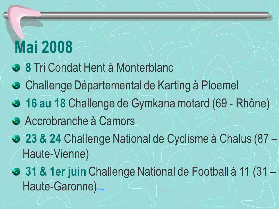 Mai 2008 8 Tri Condat Hent à Monterblanc Challenge Départemental de Karting à Ploemel 16 au 18 Challenge de Gymkana motard (69 - Rhône) Accrobranche à Camors 23 & 24 Challenge National de Cyclisme à Chalus (87 – Haute-Vienne) 31 & 1er juin Challenge National de Football à 11 (31 – Haute-Garonne) Bulletin Bulletin