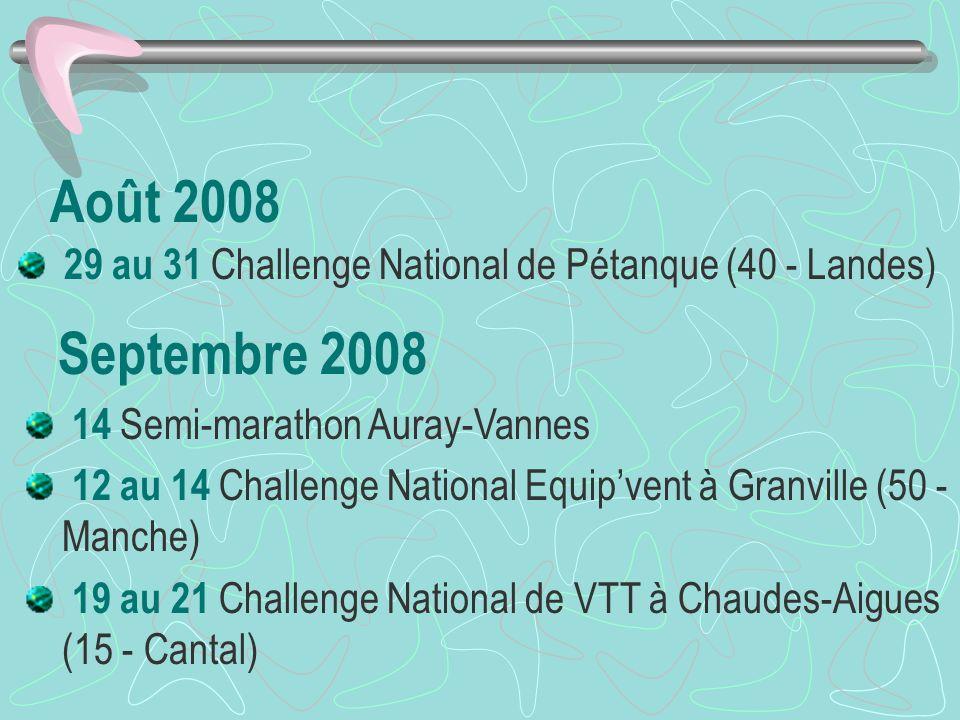 Août 2008 29 au 31 Challenge National de Pétanque (40 - Landes) Septembre 2008 14 Semi-marathon Auray-Vannes 12 au 14 Challenge National Equipvent à Granville (50 - Manche) 19 au 21 Challenge National de VTT à Chaudes-Aigues (15 - Cantal)