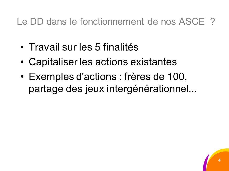 Le DD dans le fonctionnement de nos ASCE .