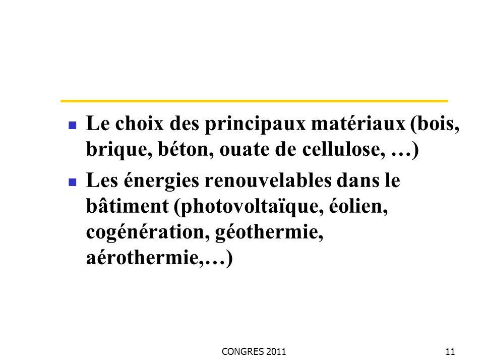 CONGRES 201111 Le choix des principaux matériaux (bois, brique, béton, ouate de cellulose, …) Les énergies renouvelables dans le bâtiment (photovoltaïque, éolien, cogénération, géothermie, aérothermie,…)