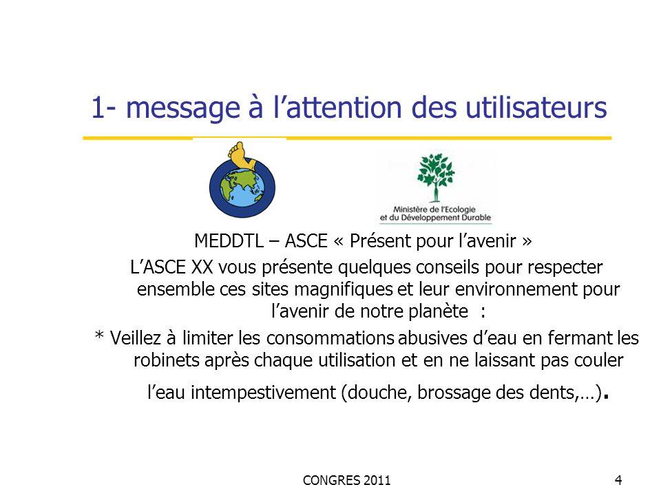 CONGRES 20114 1- message à lattention des utilisateurs MEDDTL – ASCE « Présent pour lavenir » LASCE XX vous présente quelques conseils pour respecter