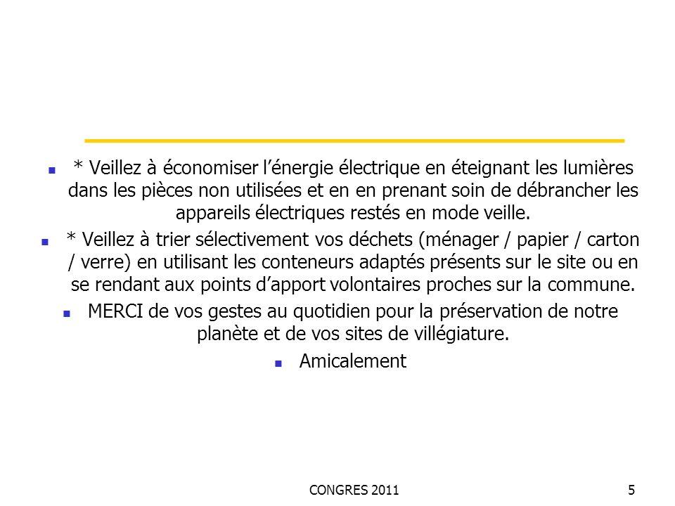 CONGRES 20115 * Veillez à économiser lénergie électrique en éteignant les lumières dans les pièces non utilisées et en en prenant soin de débrancher les appareils électriques restés en mode veille.