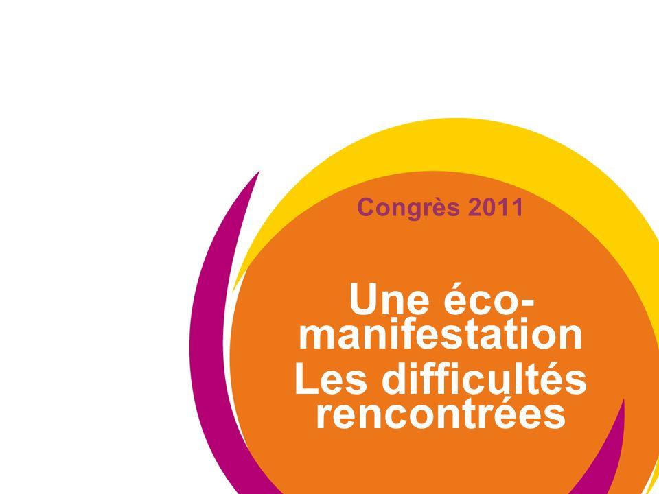 Congrès 2011 Une éco- manifestation Les difficultés rencontrées