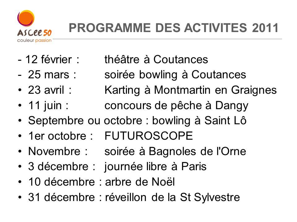 PROGRAMME DES ACTIVITES 2011 - 12 février :théâtre à Coutances - 25 mars : soirée bowling à Coutances 23 avril : Karting à Montmartin en Graignes 11 j