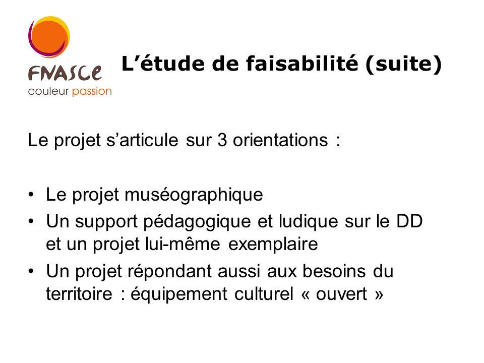 Le projet sarticule sur 3 orientations : Le projet muséographique Un support pédagogique et ludique sur le DD et un projet lui-même exemplaire Un projet répondant aussi aux besoins du territoire : équipement culturel « ouvert » Létude de faisabilité (suite)