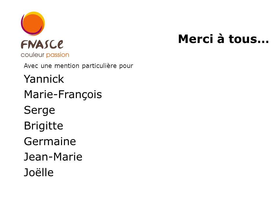 Avec une mention particulière pour Yannick Marie-François Serge Brigitte Germaine Jean-Marie Joëlle Merci à tous…