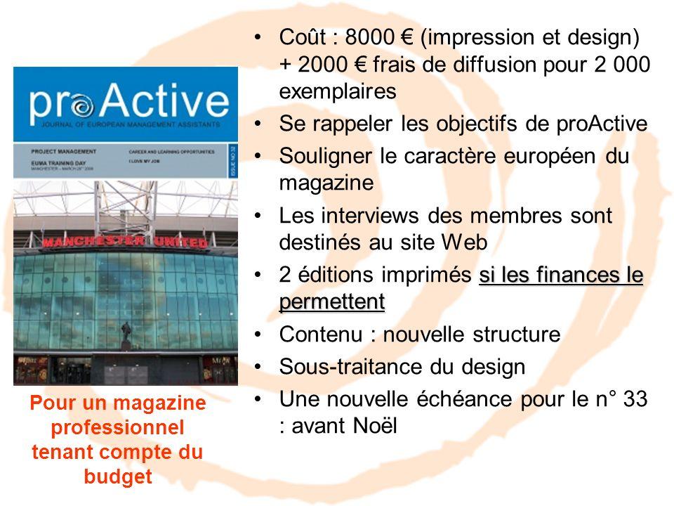 Coût : 8000 (impression et design) + 2000 frais de diffusion pour 2 000 exemplaires Se rappeler les objectifs de proActive Souligner le caractère euro