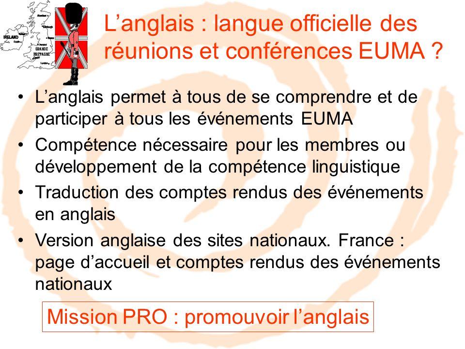 Langlais : langue officielle des réunions et conférences EUMA ? Langlais permet à tous de se comprendre et de participer à tous les événements EUMA Co
