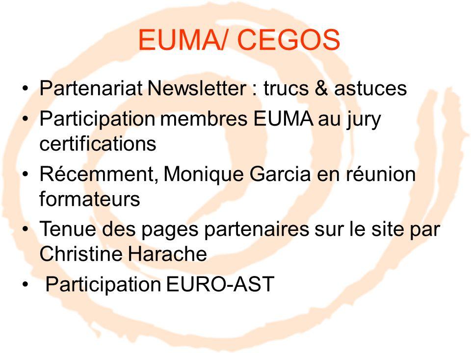 EUMA/ CEGOS Partenariat Newsletter : trucs & astuces Participation membres EUMA au jury certifications Récemment, Monique Garcia en réunion formateurs Tenue des pages partenaires sur le site par Christine Harache Participation EURO-AST