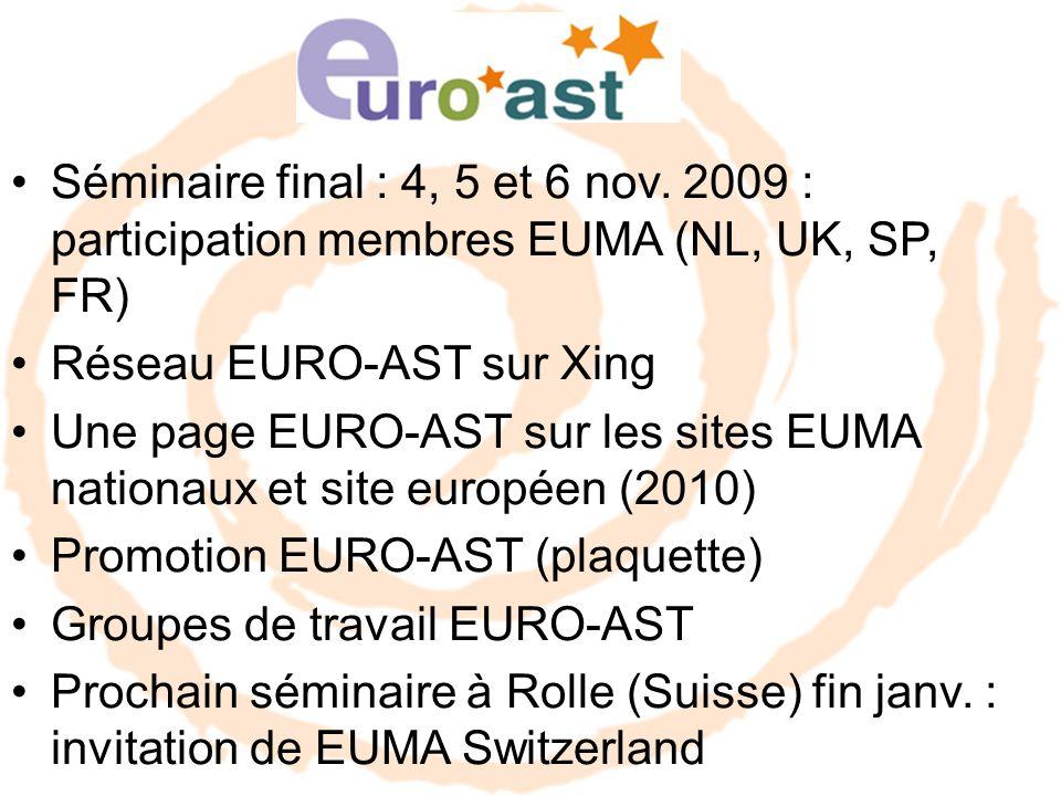 Séminaire final : 4, 5 et 6 nov. 2009 : participation membres EUMA (NL, UK, SP, FR) Réseau EURO-AST sur Xing Une page EURO-AST sur les sites EUMA nati