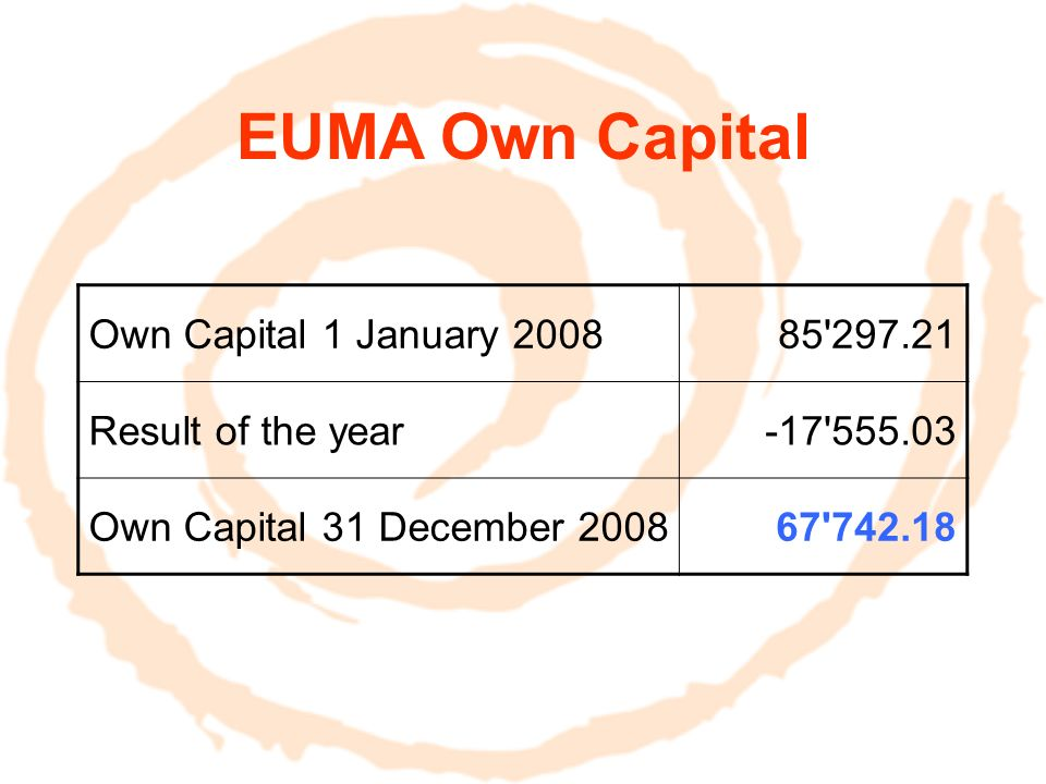 EUMA Accounts on 30 June 2009 in 2009 2008 Realised on 30/06/09 BudgetRealised Total Income 40664.5454350.0058 160.57 Total Expenditure 27513.8669820.0075 715.60 Result 13150.68-15470.00-17 555.03