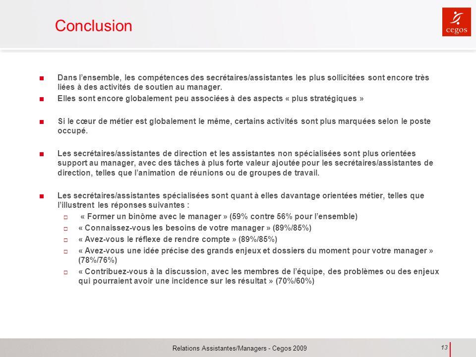 Relations Assistantes/Managers - Cegos 2009 13 Conclusion Dans lensemble, les compétences des secrétaires/assistantes les plus sollicitées sont encore