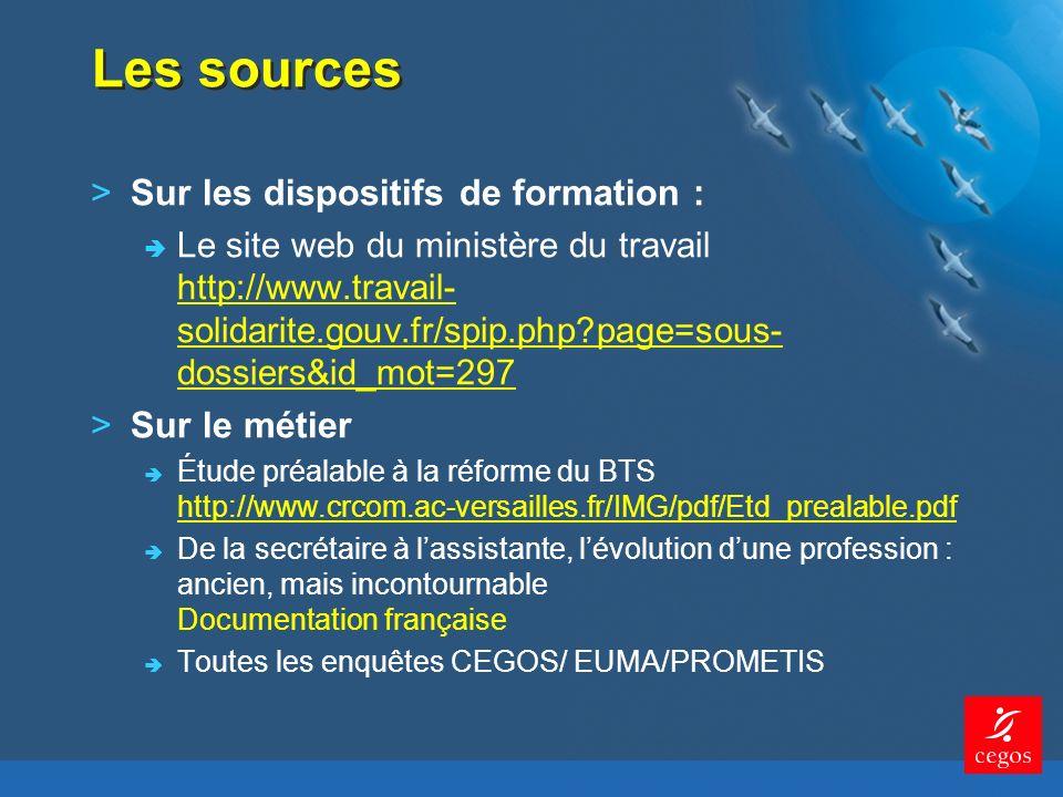 Les sources >Sur les dispositifs de formation : Le site web du ministère du travail http://www.travail- solidarite.gouv.fr/spip.php?page=sous- dossiers&id_mot=297 http://www.travail- solidarite.gouv.fr/spip.php?page=sous- dossiers&id_mot=297 >Sur le métier Étude préalable à la réforme du BTS http://www.crcom.ac-versailles.fr/IMG/pdf/Etd_prealable.pdf http://www.crcom.ac-versailles.fr/IMG/pdf/Etd_prealable.pdf De la secrétaire à lassistante, lévolution dune profession : ancien, mais incontournable Documentation française Toutes les enquêtes CEGOS/ EUMA/PROMETIS