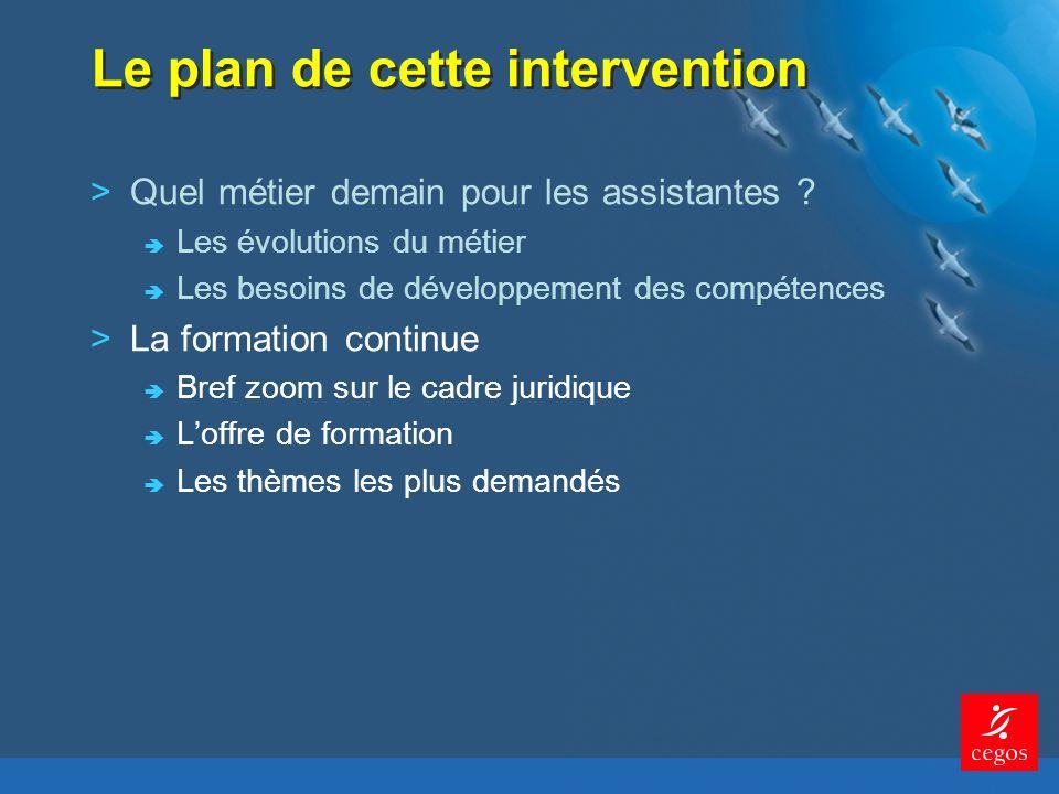 Le plan de cette intervention >Quel métier demain pour les assistantes .