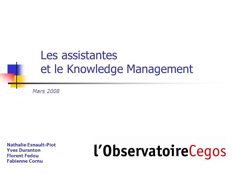 Les assistantes et le Knowledge Management Nathalie Esnault-Piot Yves Duranton Florent Fedou Fabienne Cornu Mars 2008