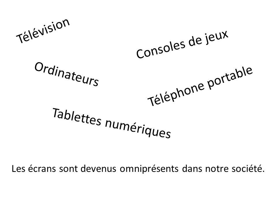 Télévision Consoles de jeux Ordinateurs Tablettes numériques Téléphone portable Les écrans sont devenus omniprésents dans notre société.