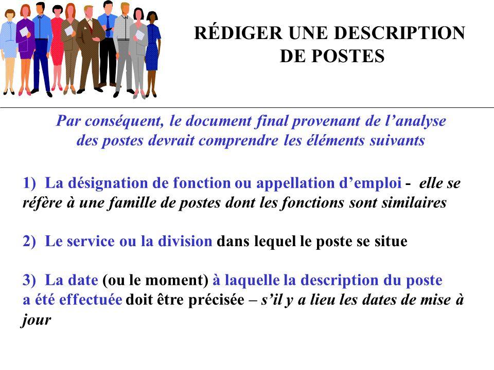 RÉDIGER UNE DESCRIPTION DE POSTES Par conséquent, le document final provenant de lanalyse des postes devrait comprendre les éléments suivants 1) La dé
