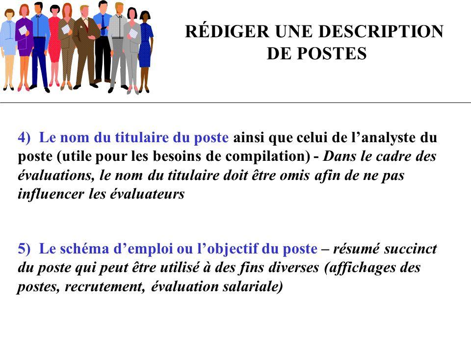RÉDIGER UNE DESCRIPTION DE POSTES 4) Le nom du titulaire du poste ainsi que celui de lanalyste du poste (utile pour les besoins de compilation) - Dans