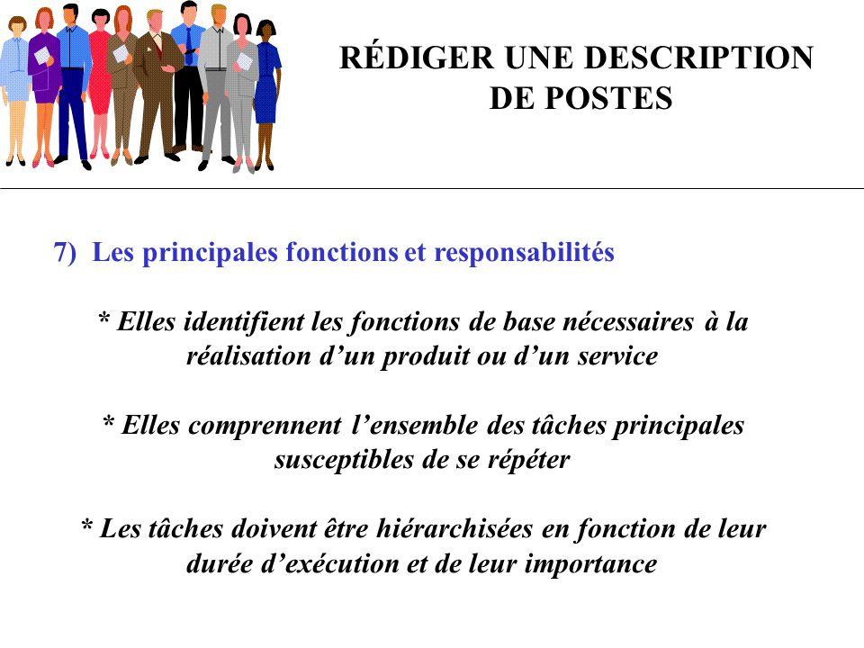 7) Les principales fonctions et responsabilités * Elles identifient les fonctions de base nécessaires à la réalisation dun produit ou dun service * El