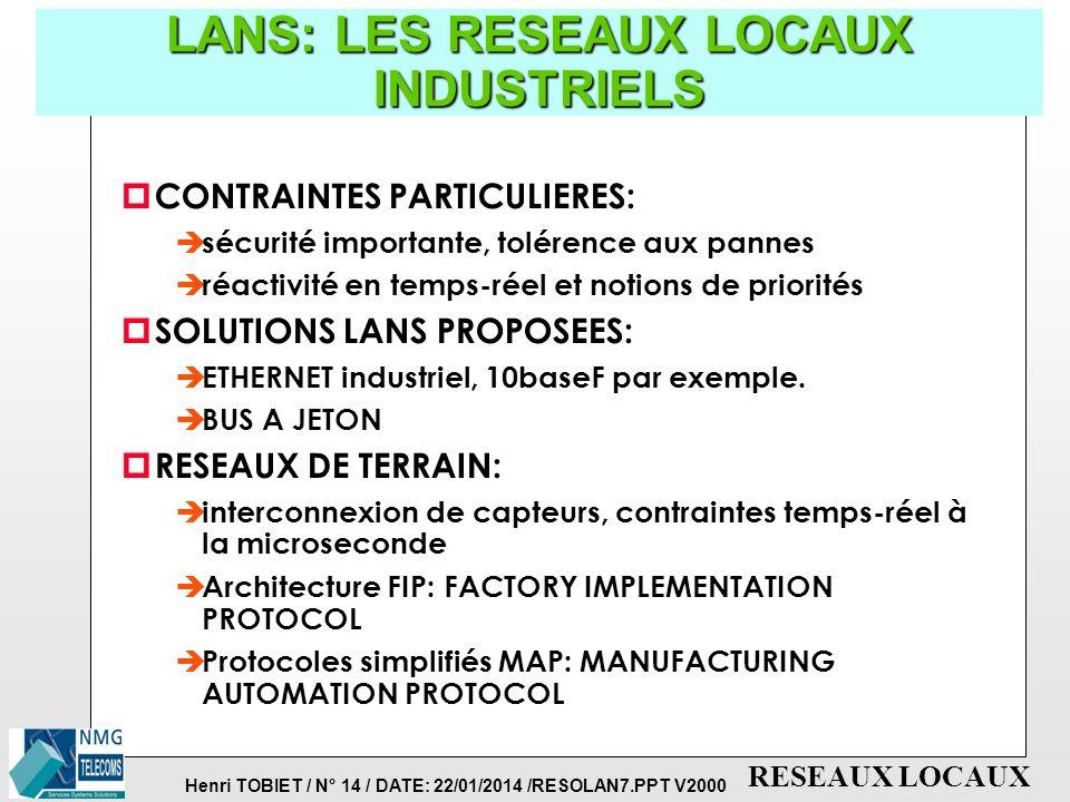Henri TOBIET / N° 14 / DATE: 22/01/2014 /RESOLAN7.PPT V2000 RESEAUX LOCAUX LANS: LES RESEAUX LOCAUX INDUSTRIELS p CONTRAINTES PARTICULIERES: è sécurité importante, tolérence aux pannes è réactivité en temps-réel et notions de priorités p SOLUTIONS LANS PROPOSEES: è ETHERNET industriel, 10baseF par exemple.