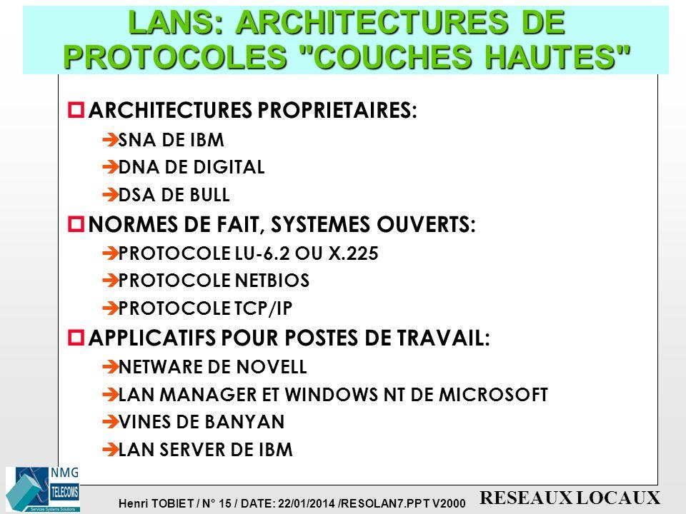 Henri TOBIET / N° 15 / DATE: 22/01/2014 /RESOLAN7.PPT V2000 RESEAUX LOCAUX LANS: ARCHITECTURES DE PROTOCOLES COUCHES HAUTES p ARCHITECTURES PROPRIETAIRES: è SNA DE IBM è DNA DE DIGITAL è DSA DE BULL p NORMES DE FAIT, SYSTEMES OUVERTS: è PROTOCOLE LU-6.2 OU X.225 è PROTOCOLE NETBIOS è PROTOCOLE TCP/IP p APPLICATIFS POUR POSTES DE TRAVAIL: è NETWARE DE NOVELL è LAN MANAGER ET WINDOWS NT DE MICROSOFT è VINES DE BANYAN è LAN SERVER DE IBM