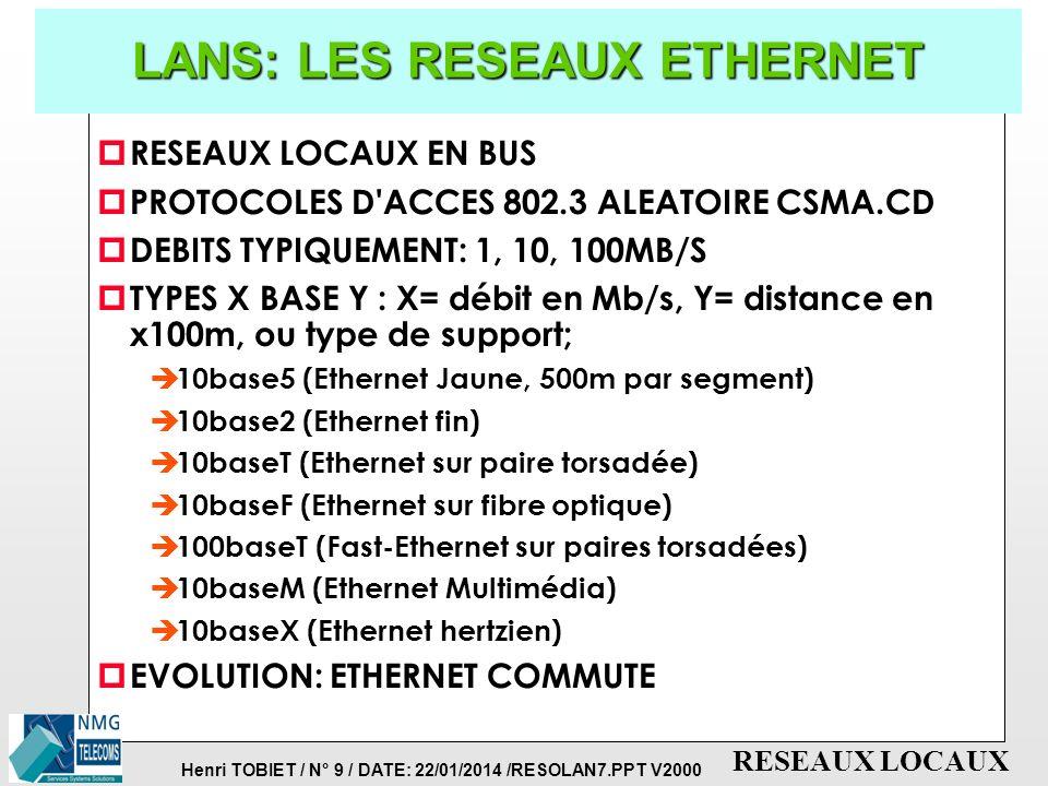 Henri TOBIET / N° 9 / DATE: 22/01/2014 /RESOLAN7.PPT V2000 RESEAUX LOCAUX LANS: LES RESEAUX ETHERNET p RESEAUX LOCAUX EN BUS p PROTOCOLES D ACCES 802.3 ALEATOIRE CSMA.CD p DEBITS TYPIQUEMENT: 1, 10, 100MB/S p TYPES X BASE Y : X= débit en Mb/s, Y= distance en x100m, ou type de support; è 10base5 (Ethernet Jaune, 500m par segment) è 10base2 (Ethernet fin) è 10baseT (Ethernet sur paire torsadée) è 10baseF (Ethernet sur fibre optique) è 100baseT (Fast-Ethernet sur paires torsadées) è 10baseM (Ethernet Multimédia) è 10baseX (Ethernet hertzien) p EVOLUTION: ETHERNET COMMUTE