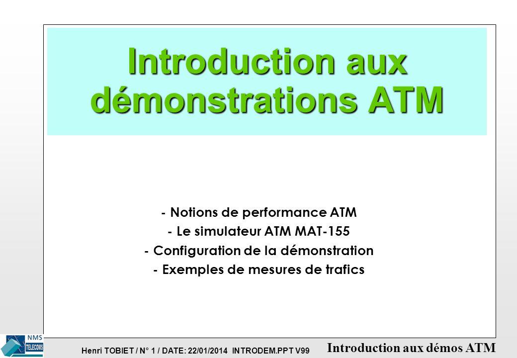 Henri TOBIET / N° 11 / DATE: 22/01/2014 INTRODEM.PPT V99 Introduction aux démos ATM MAT-155: TRAFIC MULTIPLE