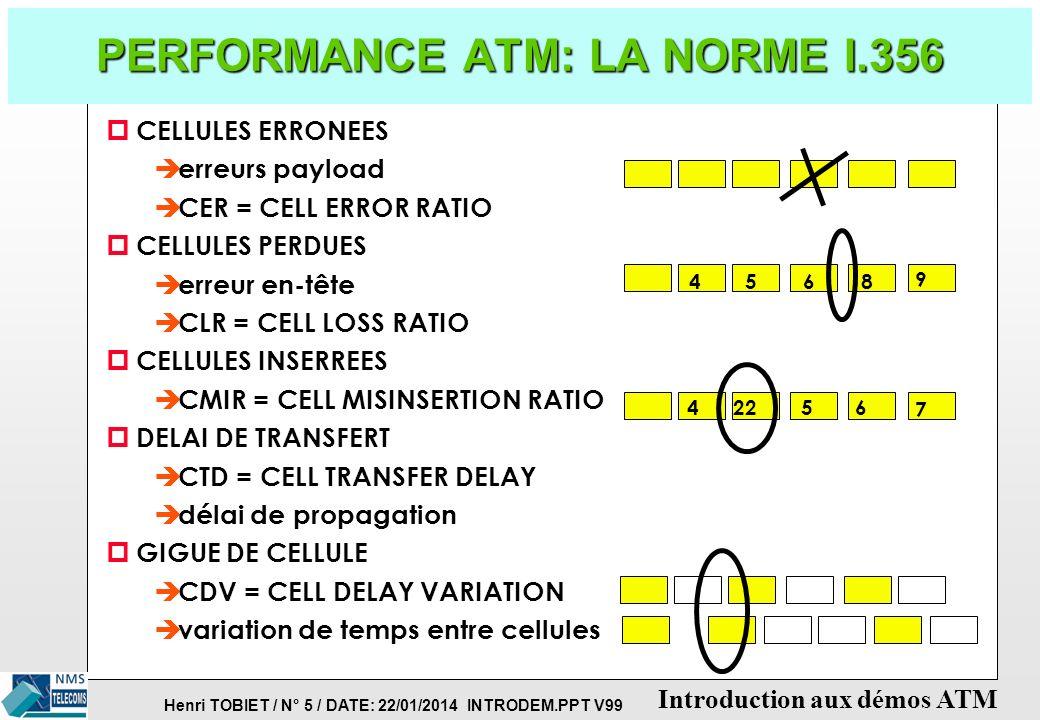 Henri TOBIET / N° 5 / DATE: 22/01/2014 INTRODEM.PPT V99 Introduction aux démos ATM PERFORMANCE ATM: LA NORME I.356 p CELLULES ERRONEES è erreurs payload è CER = CELL ERROR RATIO p CELLULES PERDUES è erreur en-tête è CLR = CELL LOSS RATIO p CELLULES INSERREES è CMIR = CELL MISINSERTION RATIO p DELAI DE TRANSFERT è CTD = CELL TRANSFER DELAY è délai de propagation p GIGUE DE CELLULE è CDV = CELL DELAY VARIATION è variation de temps entre cellules 5648 9 42256 7