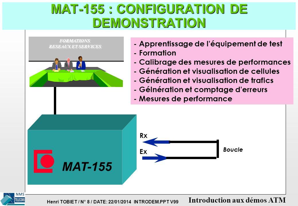 Henri TOBIET / N° 8 / DATE: 22/01/2014 INTRODEM.PPT V99 Introduction aux démos ATM MAT-155 : CONFIGURATION DE DEMONSTRATION - Apprentissage de l équipement de test - Formation - Calibrage des mesures de performances - Génération et visualisation de cellules - Génération et visualisation de trafics - Gélnération et comptage d erreurs - Mesures de performance MAT-155 Rx Ex Boucle FORMATIONS RESEAUX ET SERVICES FORMATIONS RESEAUX ET SERVICES